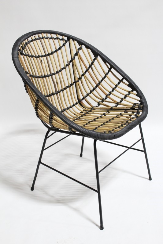 folding loveseat lawn chair where to buy covers in singapore rattan modern indoor outdoor wrapped w black binding round brown - vanprop.ca