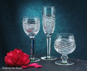 Three glass goblet