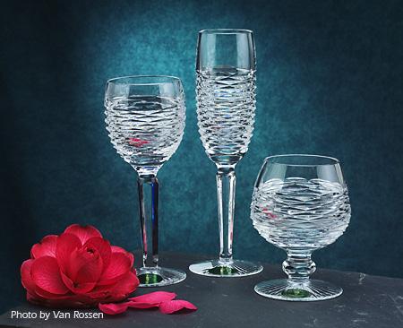 Three glass goblet