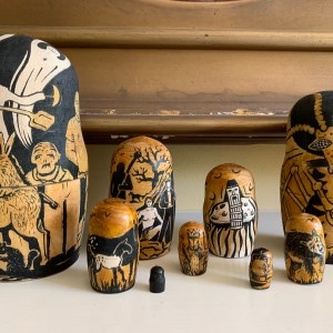 Series of nesting dolls with the art of Steven P. Eilers