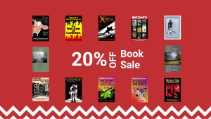 Header image to announce 20 percent off book sale