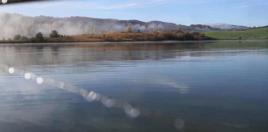 Detail Foto von einer Angelrute und einer schönen Landschaft an einem See