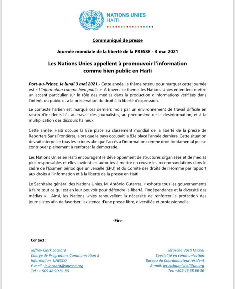 , Haïti occupe la 87e place au classement mondial de la liberté de la Presse