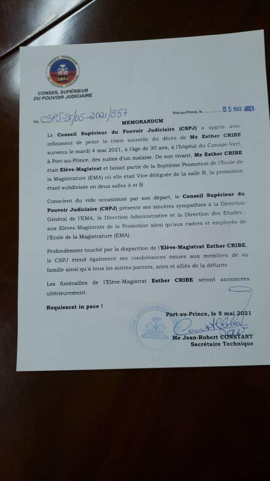 , Haiti: Le CSPJ attristé par la mort de Me Esther Cribe