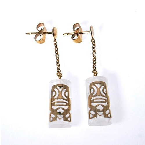 TIKI MINI DROP SET ON GEM STONE EARRING