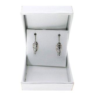 CEREMONIAL SHIELD MINI SHAPED DROP CHAIN EARRING STERLING SILVER