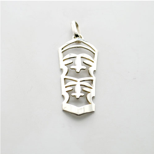 FERN CARVING 2 FACE PENDANT STERLING SILVER