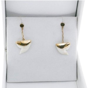 SHARK TOOTH DROP CHAIN EARRING