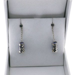 TABOU MINI CYLINDER DROP CHAIN SET ON GEMSTONE EARRING