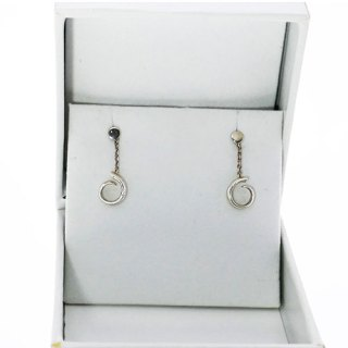 TUSK SHAPED DROP CHAIN EARRING STERLING SILVER