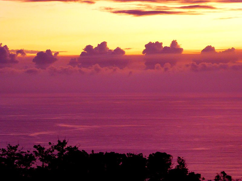 Surreal dawns abound at Tanna-Adventures due to the particular lighting effects caused by the reflection and highlighting of the sunrise through the thin layer of aerial Volcanic ash in the sky. Amazing purples, organges, yellows and blues are seen in arrays that are constantly changing.