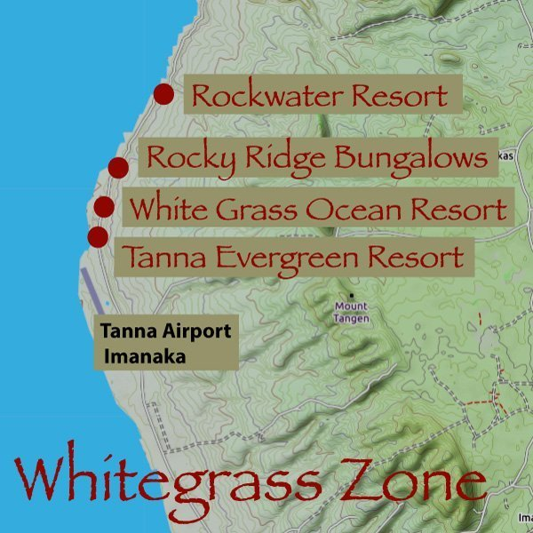 Whitegrass Ocean Resort, Tanna Evergreen resort, Rockwater resort and Rocky Ridge Bungalows are all located along the Whitegrass Coast (Whitegrass Zone)