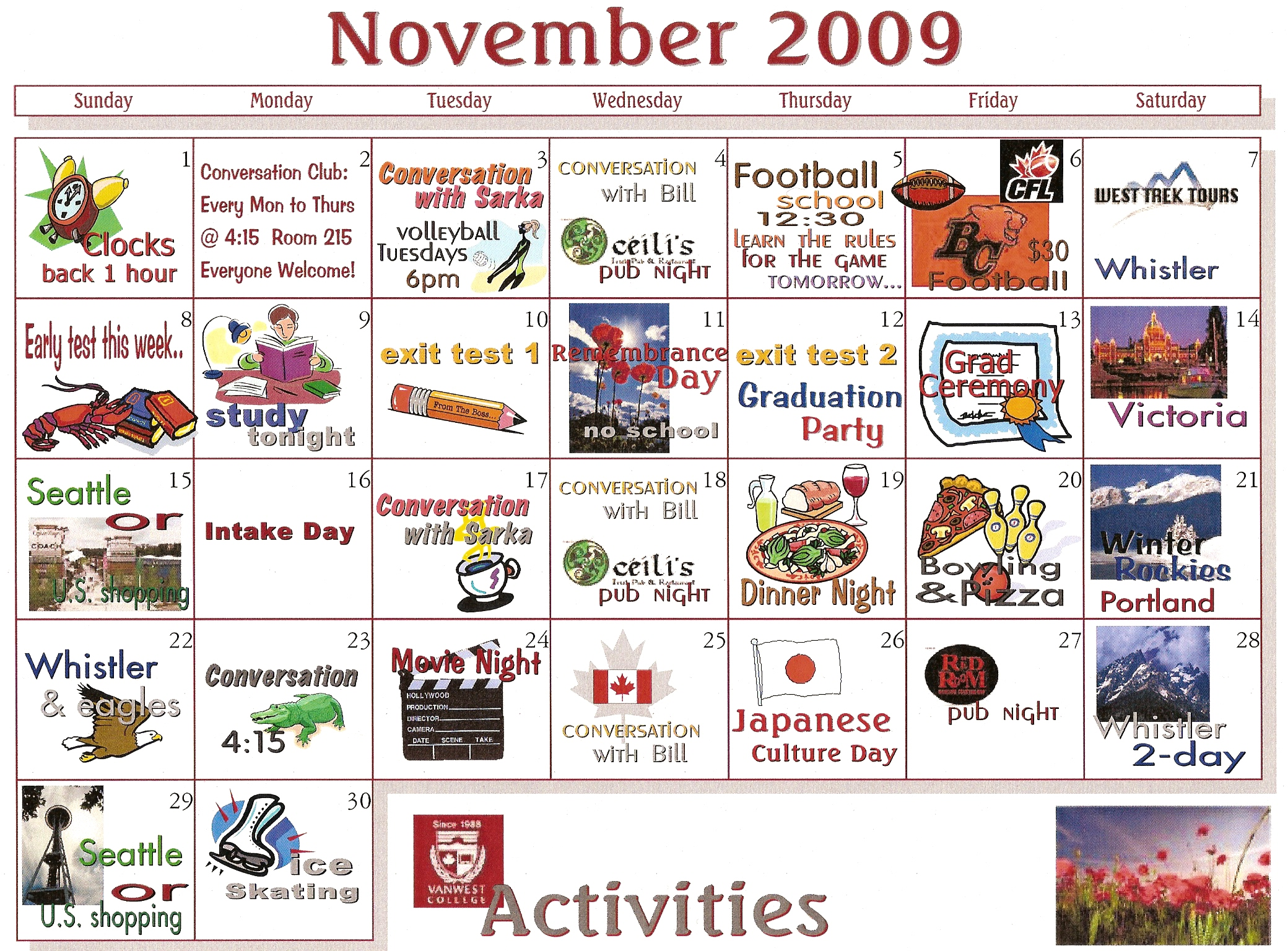 List Of Synonyms And Antonyms Of The Word November Activites