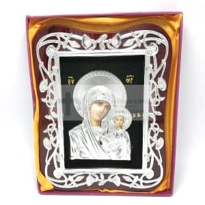 Icoana Maica Domnului cu Pruncul argintie pe lemn