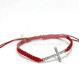 Bratara rosie cu cruce si pietre semipretioase
