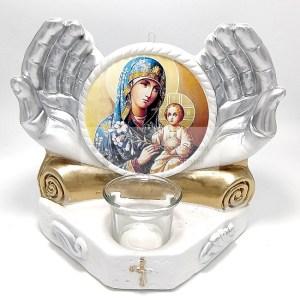 Candela maini cu Icoana crinul Maicii Domnului