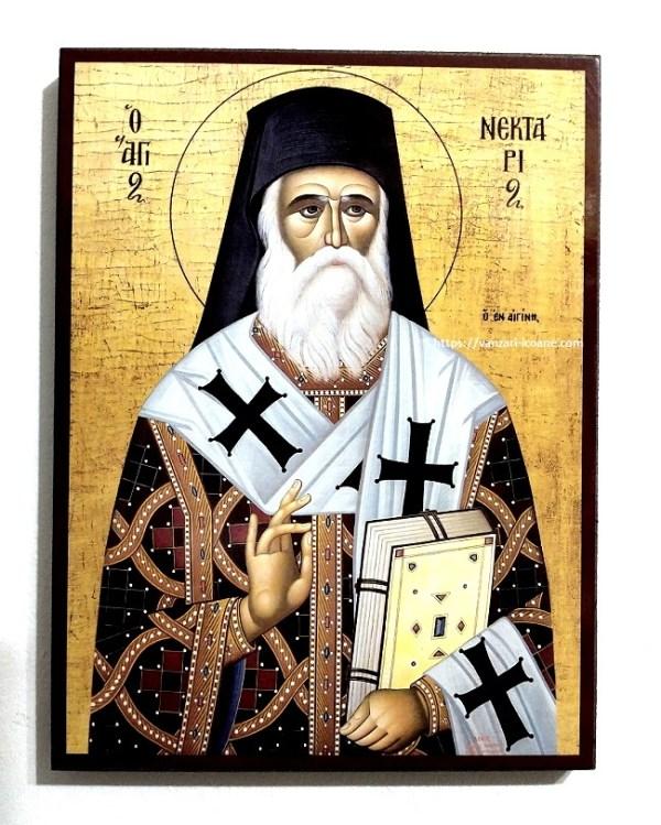 Icoana Bizantina Sfantul Ierarh Nectarie