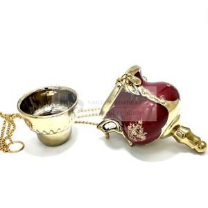 Candela ceramica cu lant si pahar inclus