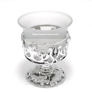 Candela argintie cu suport din PVC si pahar