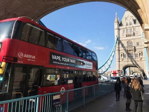 E-cigarette advertising depends on buses