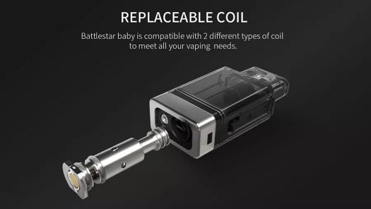 Replacable coil: Battlestar baby is compatible with 2 different types of coil to meet all your vaping needs.