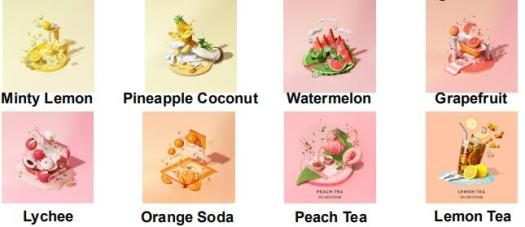 Minty Lemon Pineapple Coconut Watermelon Grapefruit Lychee Orange Soda Peach Tea Lemon Tea