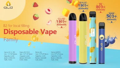 The upgraded ALD B2 disposable vaping device series details