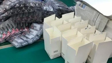 Counterfeit Juul items made at Chinese factory.
