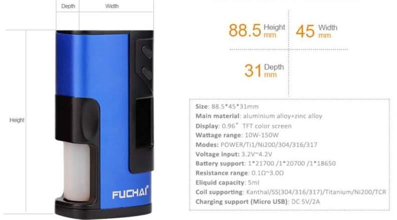 Sigelei Fuchai Squonk 213 Technical Specs