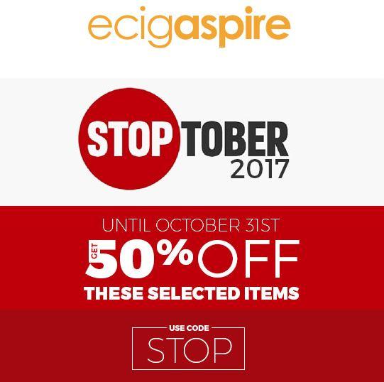 EcigAspire Stoptober 50% Off Discount Code
