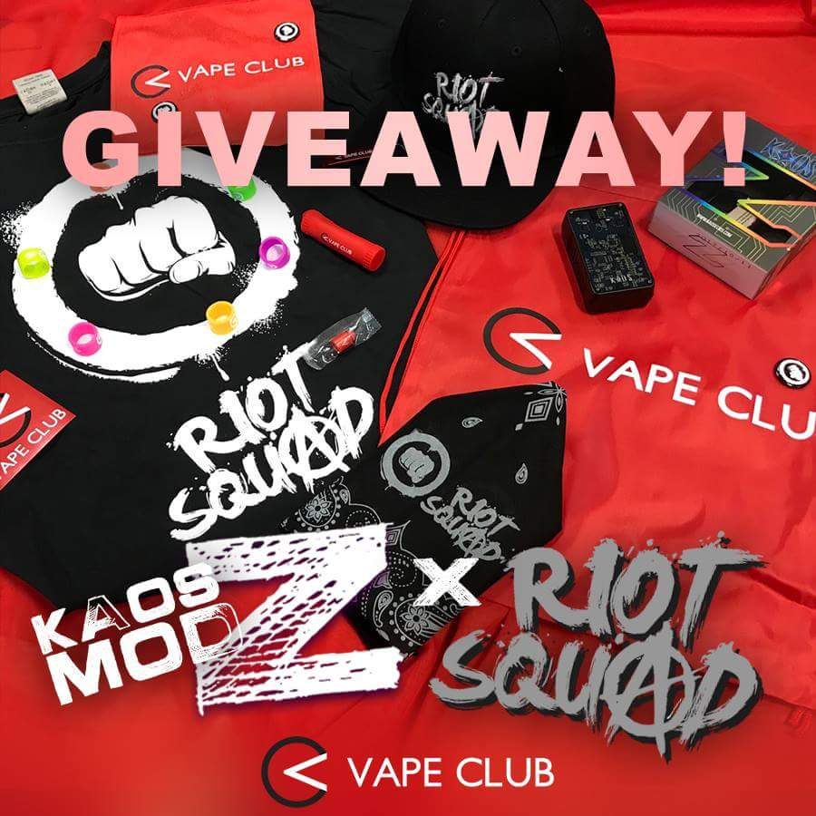[Facebook Giveaway] Win a Sigelei Kaos Z 200W Box Mod & Riot Squad E-Liquid from VapeClub