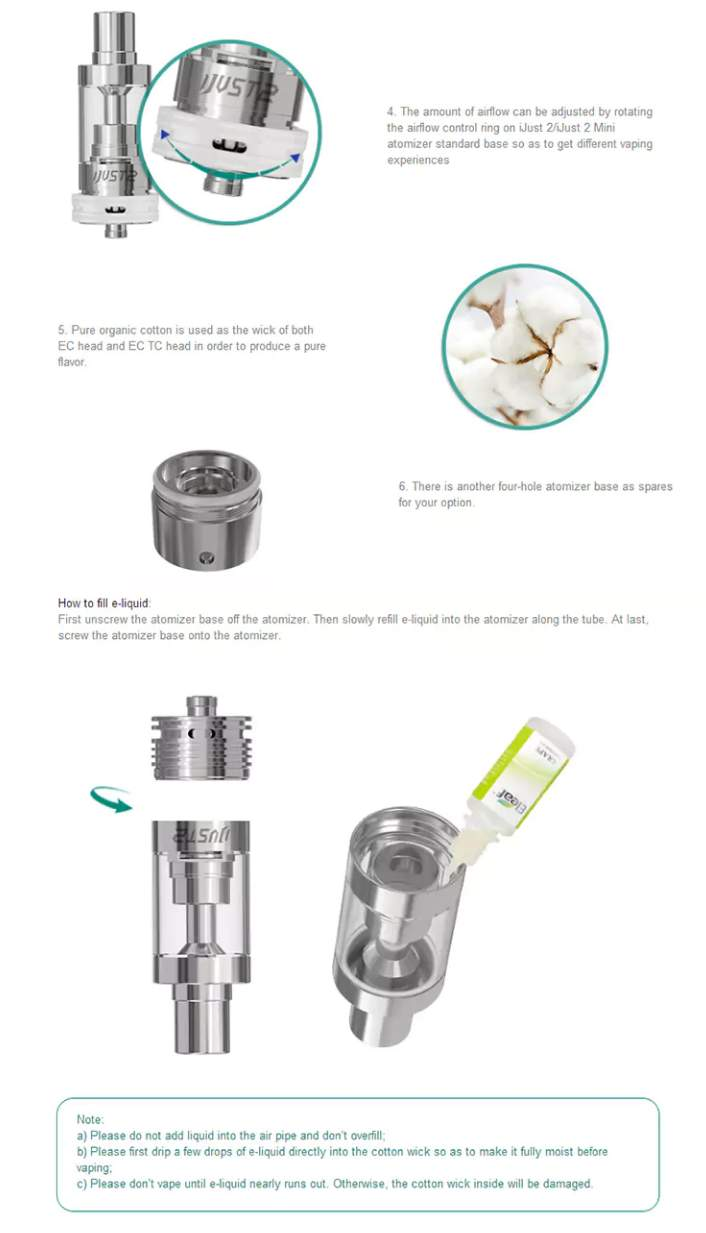 Eleaf iJust 2 Atomizer Tank airflow and filling