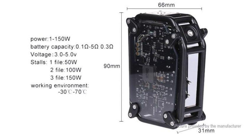 XOMO GT Laser 150w Box Mod 3500mah dimensions
