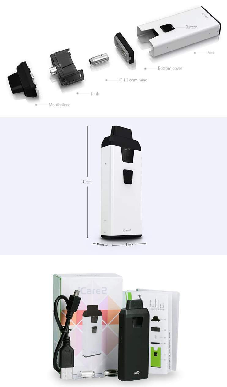 eleaf icare2 starter ecigarette packaging and dimensions