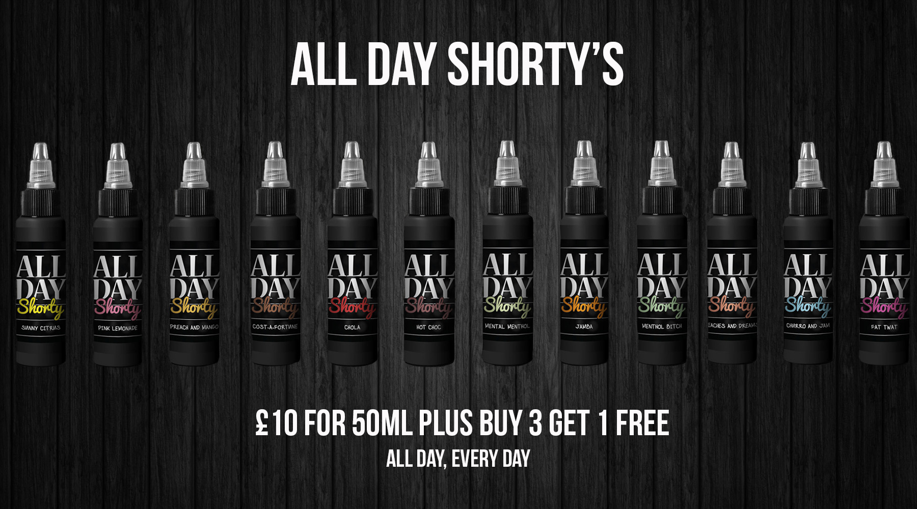 All Day Shorty's 200ml Mix n Match – £30 at El Diablo Juices