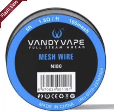 Vandyvape Mesh Wire Ni80 100 Mesh 5ft  – £1.92