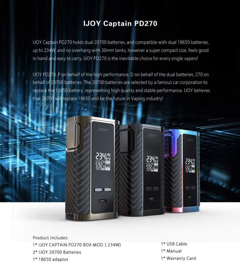 iJoy Captain PD270 Mod features
