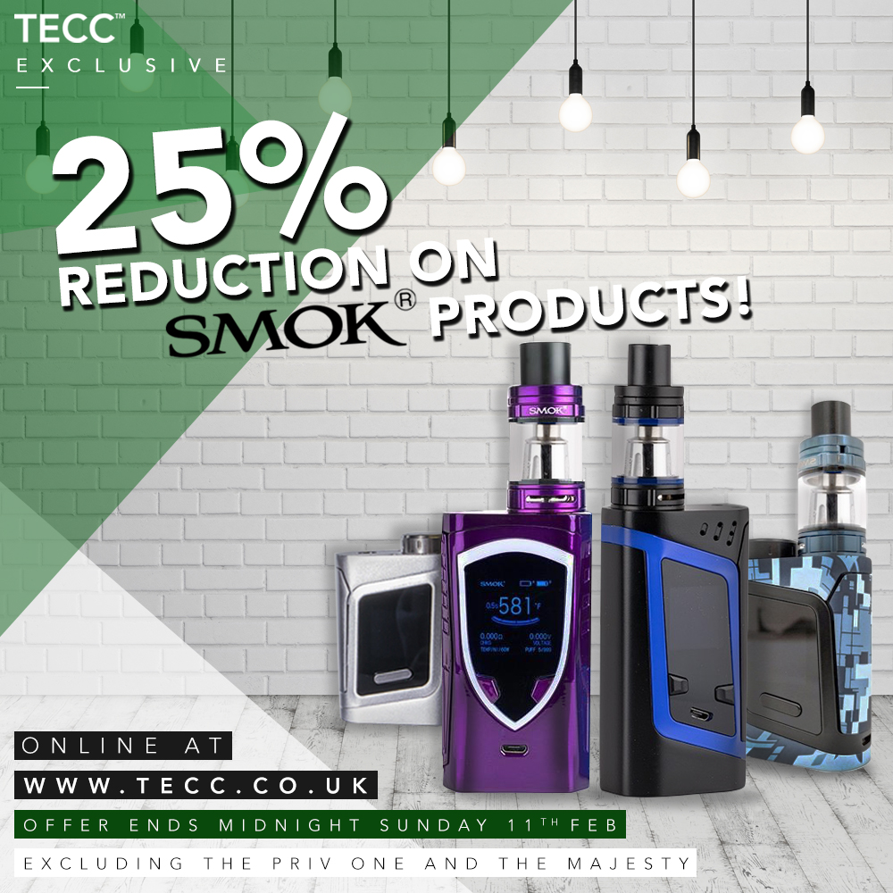 25% Reduction on Smok Products – From £5.24 At TECC!