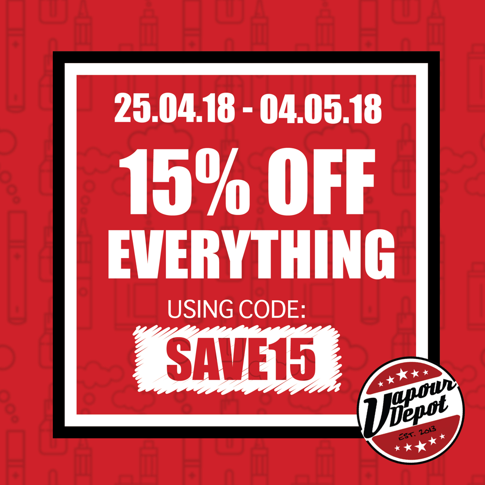15% off sitewide at Vapour Depot