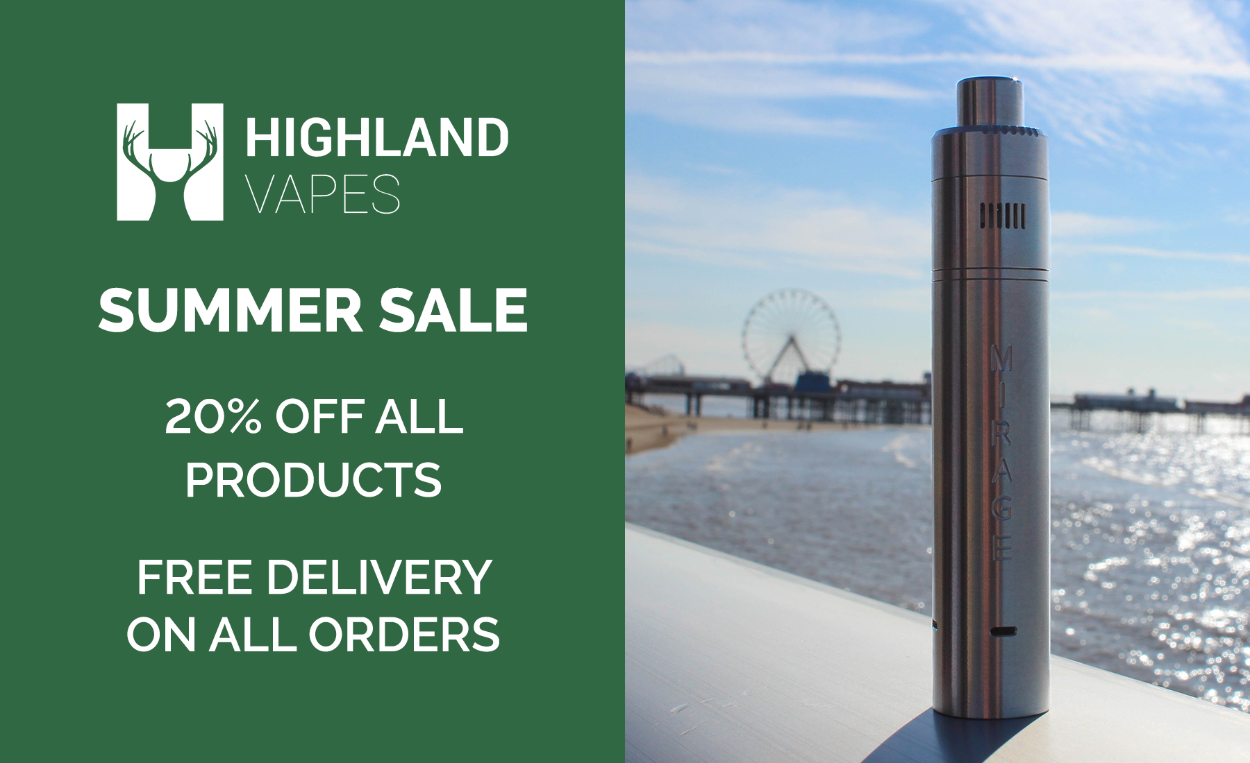 20% Off Everything + Free Delivery at Highland Vapes