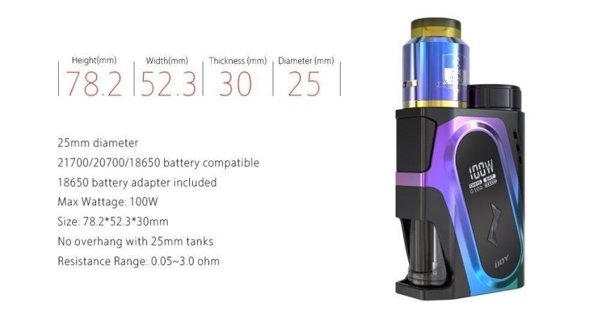 IJOY CAPO Squonker 100W 20700 Box Mod Specs