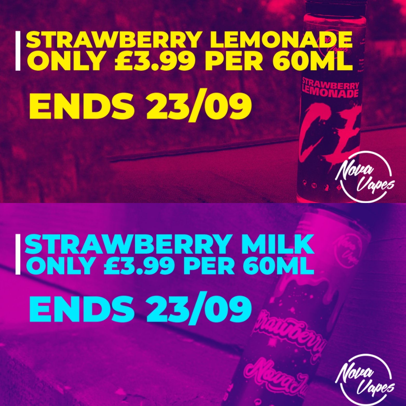 Strawberry Milk and Strawberry Lemonade 60ml £3.99