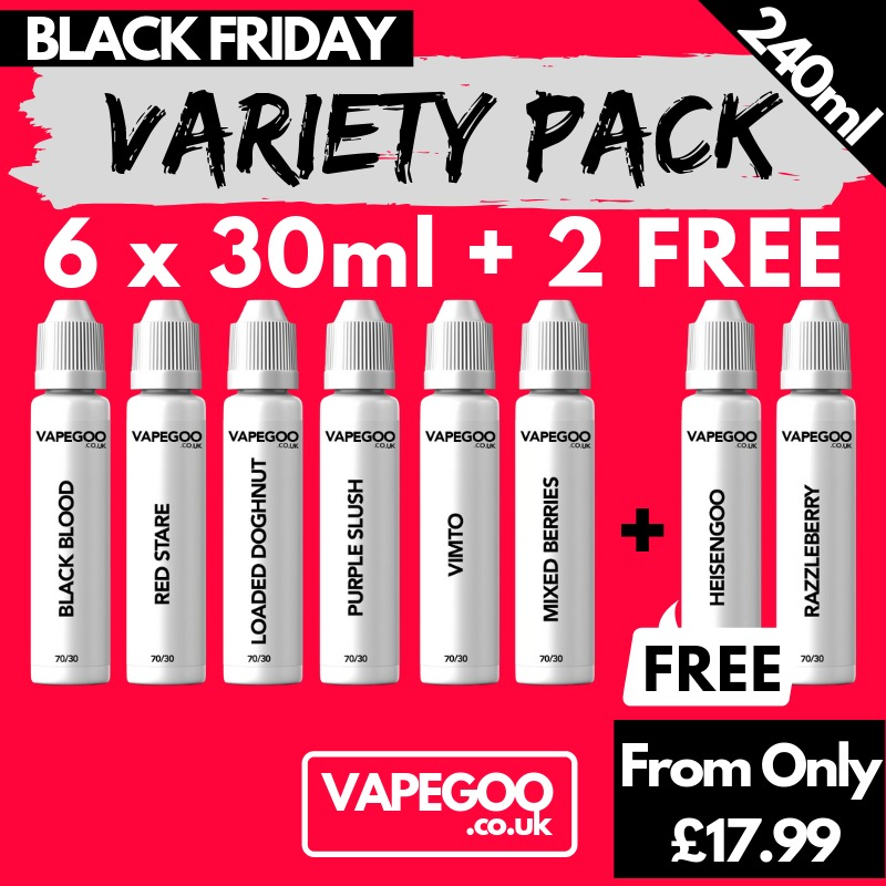 240ml (6x30ml) E-Liquid Bundle – From £17.99 (inc. Nic shots & Delivery)