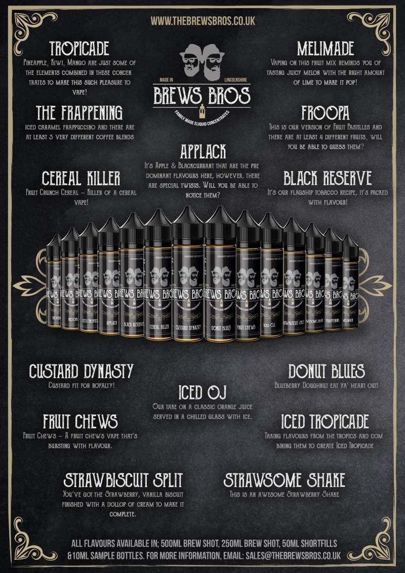 the brews bros range of e-liquid flavours