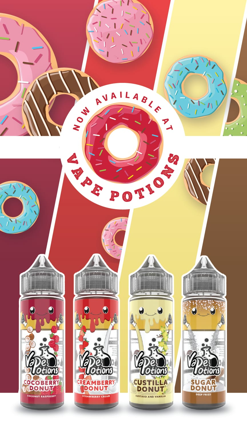 Vape Potions Donut Range 120ml shortfill – £6.75