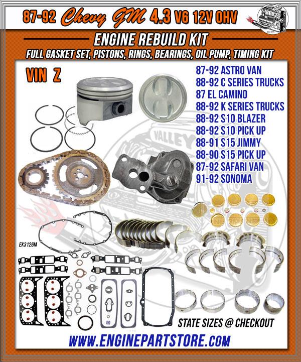 87-92 Chevy GM 4.3 engine rebuild kit.