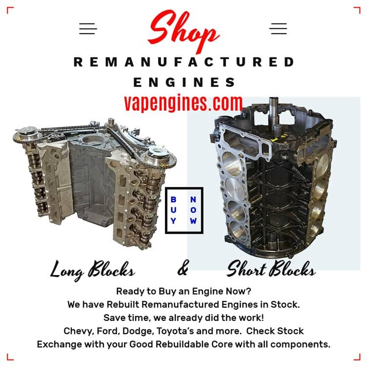 Buy Rebuilt Remanufactured car or truck engines now