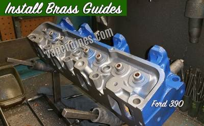 Install brass guides-cylinder head