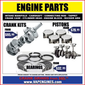 Engine parts store- crank, bearings, pistons