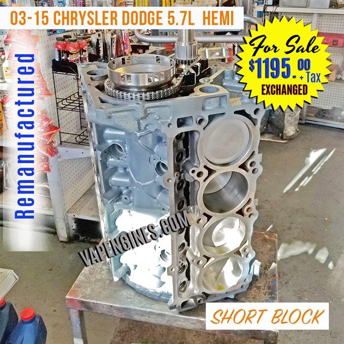 remanufactured chrysler jeep dodge 5 7l short block engine for sale. Black Bedroom Furniture Sets. Home Design Ideas